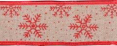 Лента декоративная Новогодько (YES! Fun) с красной снежинкой 6 см х 2 м Бежевая (750314) (5056137195220)