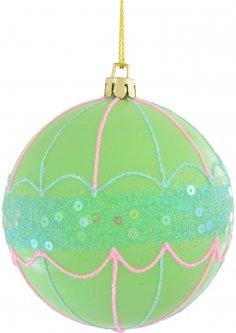 Елочный шар Новогодько (YES! Fun) Зонтик с глиттером и пайетками 8 см Зеленый (972820) (5056137109128)