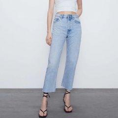 Джинси жіночі широкі з необробленим краєм Aura Berni Fashion (38) Блакитний (55842)