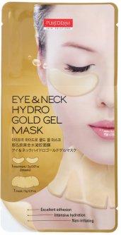 Гидрогелевые патчи для зоны под глазами и шеи с нано-золотом увлажняющие Purederm Eye & Neck Hydrogold Gel Mask 25 г (8809411181023)