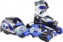 Набор роликовые коньки Action ZERO Blue 34-37 + комплект защиты (PW117CE308905/34-37)
