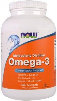 Жирные кислоты Now Foods Омега-3 1000 мг 500 желатиновых капсул (733739016539)