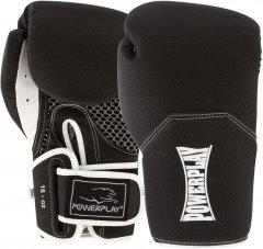 Боксерские перчатки PowerPlay 3011 Карбон 16 унций Черно-белые (PP_3011_16oz_Bl/White)