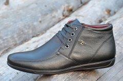 Мужские зимние классические ботинки полуботинки кожаные черные 44р Код 971