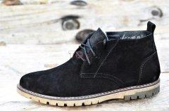 Зимние мужские классические полуботинки, ботинки на шнурках Van Kristi, замшевые черные, 44р Код 968