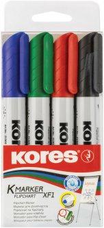 Набор маркеров Kores для флипчартов XF1 в блистере 1-3 мм 4 шт (K21344)