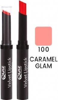 Помада Quiz Velvet long lasting lipstick 100 Caramel Glam 3 г (5906439013930)