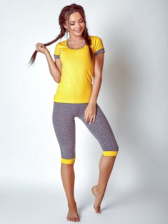 Комплект (футболка+бриджи) BARWA garments 0127/124 S Желтый с серым (2111271241059)