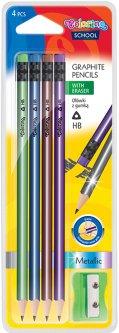 Набор карандашей чернографитных с точилкой Colorino Металлик HB корпус дерерво c ластиком HB 4 шт (39903PTR)