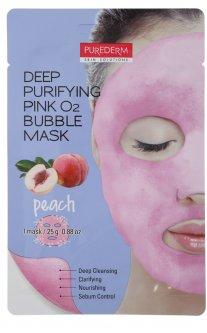Глубокоочищающая пенящаяся маска Purederm Персик Deep Purifying Pink O2 Bubble Mask Peach 25 г (8809541193255)