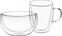 Набор для завтрака Ardesto чашка + пиала с двойными стенками (AR2650BG)