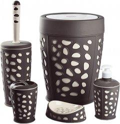 Набор аксессуаров для ванной комнаты PLANET Stone 5 предметов коричневый/кремовый