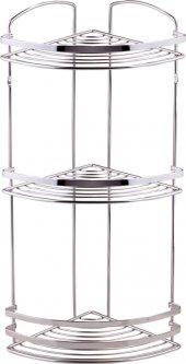 Полка угловая TEKNO-TEL BK083SS трехъярусная 20х20х48 см полированная нержавеющая сталь