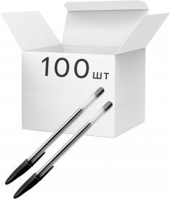 Упаковка шариковых ручек KLERK 0.7 мм Черных 100 шт Прозрачный корпус (Я44697_KL0434_100)