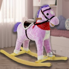Гойдалка коник музична плюшева Іграшка для дітей зі звуковими ефектами – Видає цокоту копит рухає хвостом і ротом конячка зі знімним сідлом на батарейках - Фіолетова