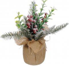 Декоративная искусственная елка Jumi с ягодами и листьями в горшке с мешка 23 см (5900410402911)