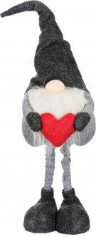 Фигурка новогодняя Jumi Леприкон с сердцем 75 см Серая с красным (5900410374218)