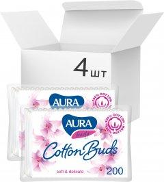 Упаковка ватных палочек Aura Beauty 4 пачки по 200 шт (4751023291949/4751023291031)