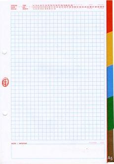 Разделители для регистратора или папки Interdruk A5 в Lux-клетку 5 разделителей с разноцветными полями 50 листов (177292)