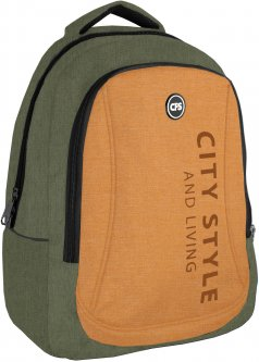 Рюкзак молодежный Сool For School 44x32x20 см 28 л унисекс Зелено-рыжий (CF86588-04)