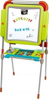 Двухсторонний мольберт Smoby Toys Буквы и цифры с регулировкой высоты, подставкой и аксессуарами (3032164102051)