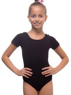Купальник для танців і гімнастики з коротким рукавом Motus KUP-004-B 1 (104-116см) чорний