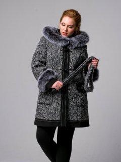 Пальто-дафлокт Mangust 548 44 Черное с белым (2000803290019)