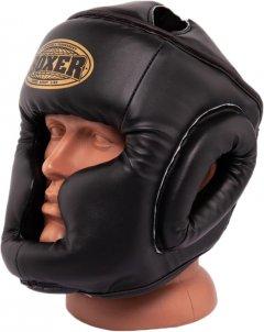 Шлем тренировочный каратэ Boxer Элит L 0.8 мм кожвинил Черный (2036-01BLK)
