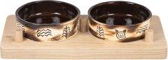 Миски керамические для собак и кошек Природа Этно 2x200 мл на деревянной подставке (4823082418671)