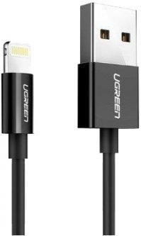 Кабель Ugreen US155 USB-A 2.0 - Lightning MFI 1 м Nickel Plated Black (90402190)