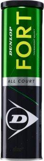 Мячи для большого тенниса Dunlop Fort TS металлическая банка 4 шт Зеленые (601316)