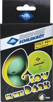 Мячи для настольного тенниса Donic Glow in the dark 40+ 6 шт Green (608507)