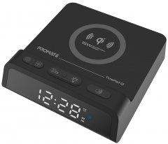 Настольные часы-будильник Promate TimePad-Qi с беспроводной зарядкой 15 Вт Black (timepad-qi.black)