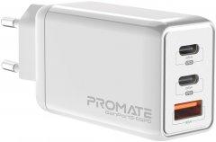 Сетевое зарядное устройство Promate GaNPort3-65PD 65 Вт, 2хUSB-C + USB-A White (ganport3-65pd.white)