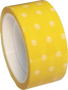 Клейкая канцелярская декоративная лента Optima Dots 18 мм x 10 м Желтая 8 шт (O45373)