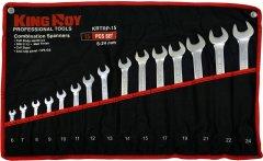 Набор ключей рожково-накидных King Roy 6-24 мм 15 предметов (KRTRP-15)