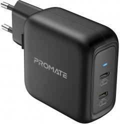 Сетевое зарядное устройство Promate GaNPort-90PD 90 Вт 2хUSB-C Black (ganport-90pd.black)