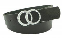 Женский кожаный ремень с пряжкой двойное кольцо Real Leather 4 см для джинсов или платья черный 105-135 см (RL111732)