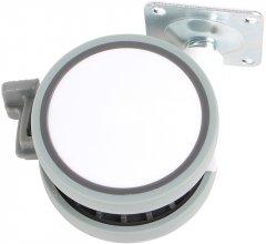 Ролик пластиковый с площадкой Ferro Fiori R 10050 63 мм со стопором, нагрузка 28 кг Белый/Серый (VR48488)