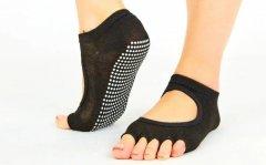 Носки для йоги и танцев с открытыми пальцами SP-Planeta Полиэстер Хлопок Размер 36 - 41 Черный (СПО FL-6872)