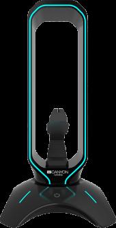 Подставка для наушников Банджи для мыши и хаб USB 2.0 Canyon WH200 Pearl Black (CND-GWH200B)