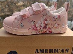 Дитячі кеді для дівчинки на липучках American Club ES 18/21 рожевого кольору. 28