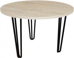 Журнальный столик DC Zac R600х16 мм Дуб сонома 3 ноги черные прутовые (DC121370)