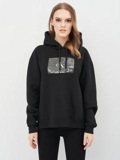Худи Calvin Klein Jeans Sequin Oversized Back Slit Hd J20J214818-BEH S Pvh Black (8719853221303)