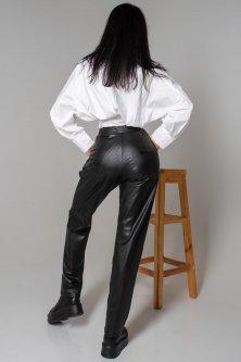 Жіночі JADONE FASHION штани з екошкіри на хутрі з гульфіком Кеш колір чорний XL (Штани шкіряні Кеш чорний)