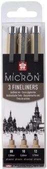 Набор линеров Sakura Pigma Micron 3 шт 08-10-12 Черный (8712079459512)