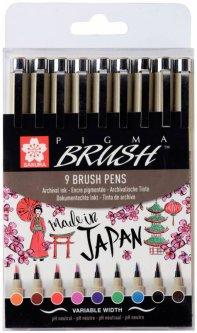 Набор линеров-кисточек Sakura Pigma Brush 9 цветов (8710141131137)