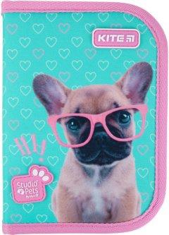 Пенал с наполнением Kite Education Studio Pets 1 отделение 2 отворота Бирюзовый (SP21-622H)