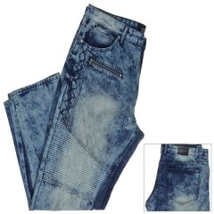 Мужские джинсы Big Tall Moto Relaxed Fit Jeans with Zipper and Embroidered Accents TRESTLES 70