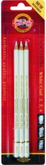 Набор художественных угольных карандашей Koh-i-Noor Gioconda Белый мел 3 шт (8812003002BL)